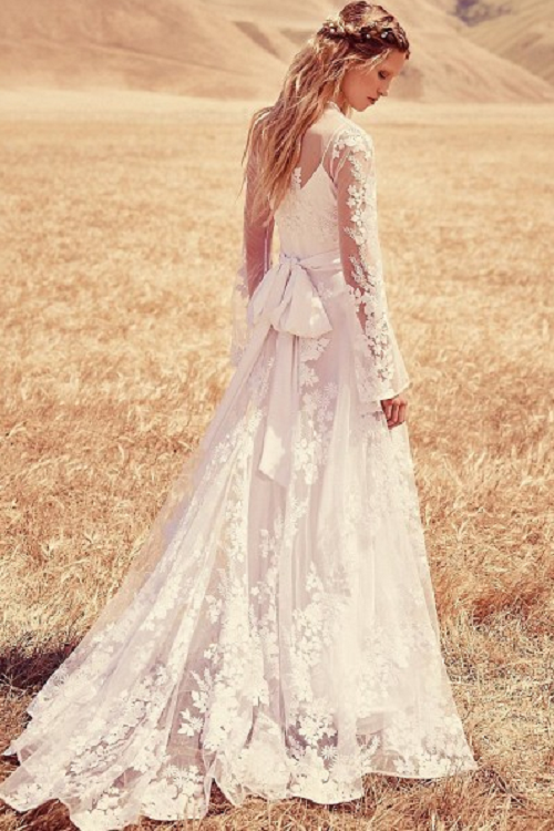 Vintage Inspired Boho Long Sleeve Lace Wedding Dress with Sash