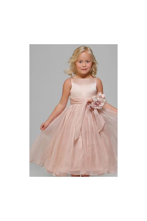 Blush Sleeveless Jewel Neck Keen Length Organza Flowel Girl Dress