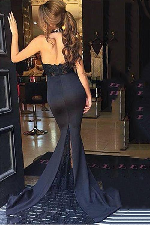 Black Sexy Beading Halter Neck Long Mermaid Satin Prom Dress