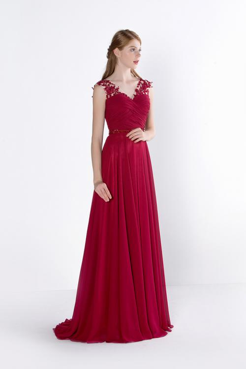 Chic Sleeveless V Neck A-line Long Ruby Chiffon Prom Dress