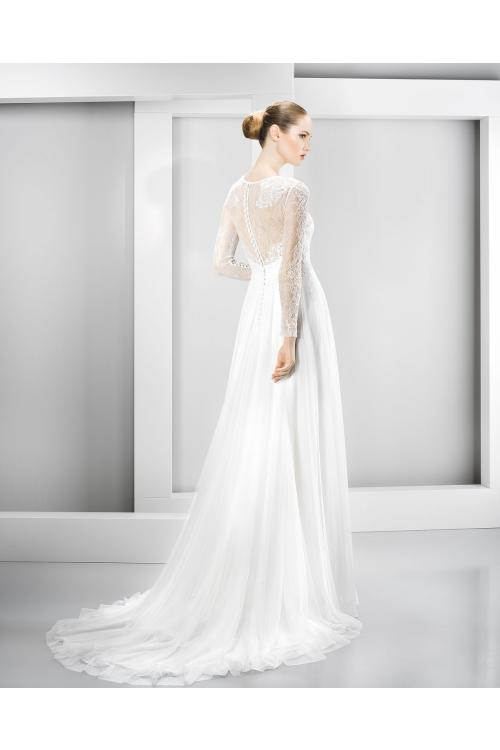 A-line Jewel Neck Lace Bodice Chiffon Wedding Dress