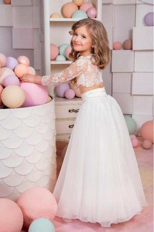 Vintage Two Piece A-line Bateau Long Sleeve Lace Flower Girl Dress