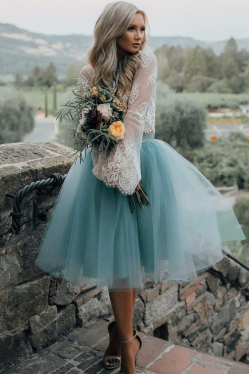 Long Sleeve Lace A-line Tea Length Tulle Bridesmaid Dress