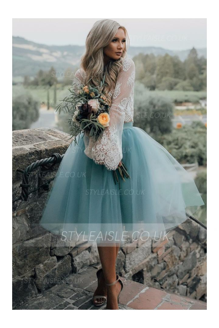 Two-piece Long Sleeve Lace Transparent Top A-line Knee Length Tulle Skirt Bridesmaid Dress