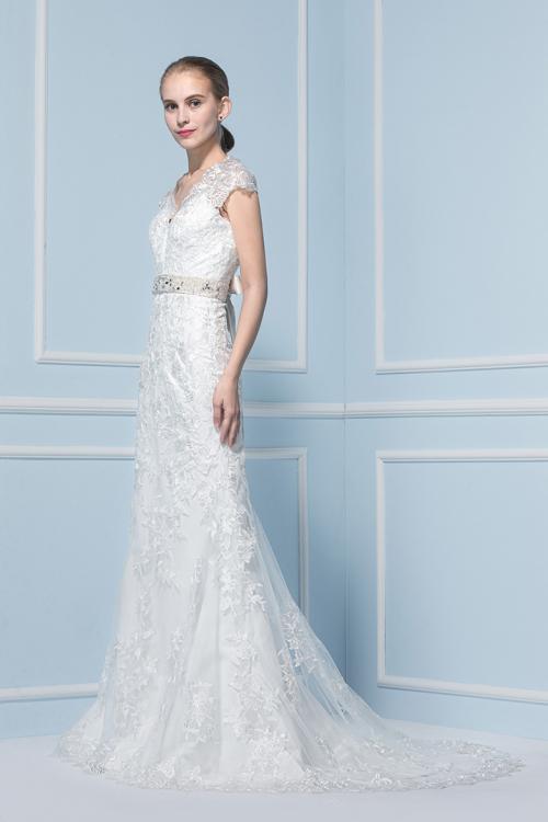 Sheath V-neck Cap Sleeve Lace Sweep/Brush Train Wedding Dresses