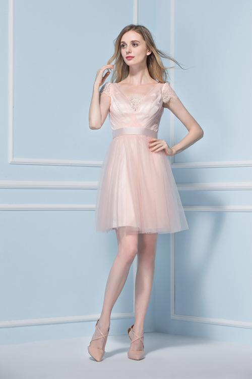 Short Sleeved Lace Trimmed V Neck Knee Length Blush Tulle Bridesmaid Dress