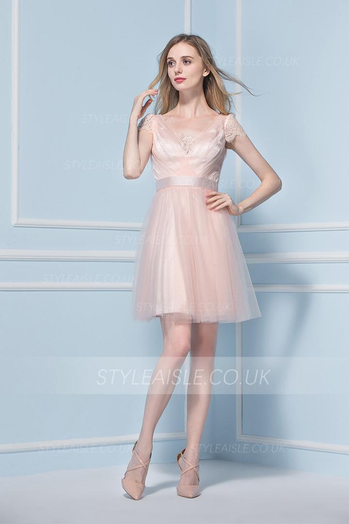 6018fe8b46b1 Short Sleeved Lace Trimmed V Neck Knee Length Blush Tulle ...