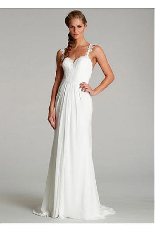Simple Lace Spaghetti Straps Long Chiffon Wedding Dress