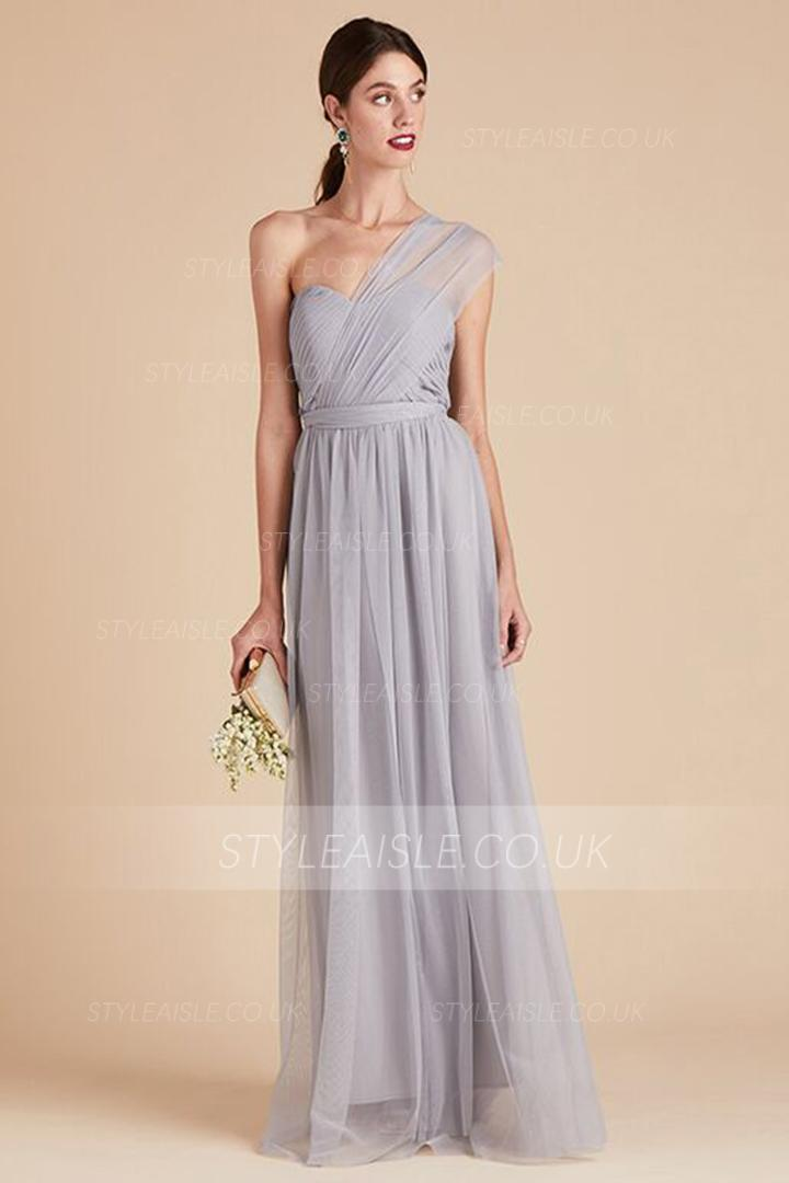 A-line Sweetheart Neckline Sleeveless Ruching Floor-length Long Tulle Bridesmaid Dresses(Customize multiple necklines)