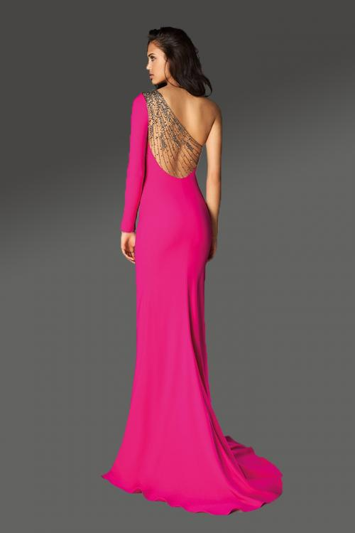 Sheath/Column One Shoulder Sleeveless Beading Split Sweep/Brush Train Long Jersey Cocktail Dresses
