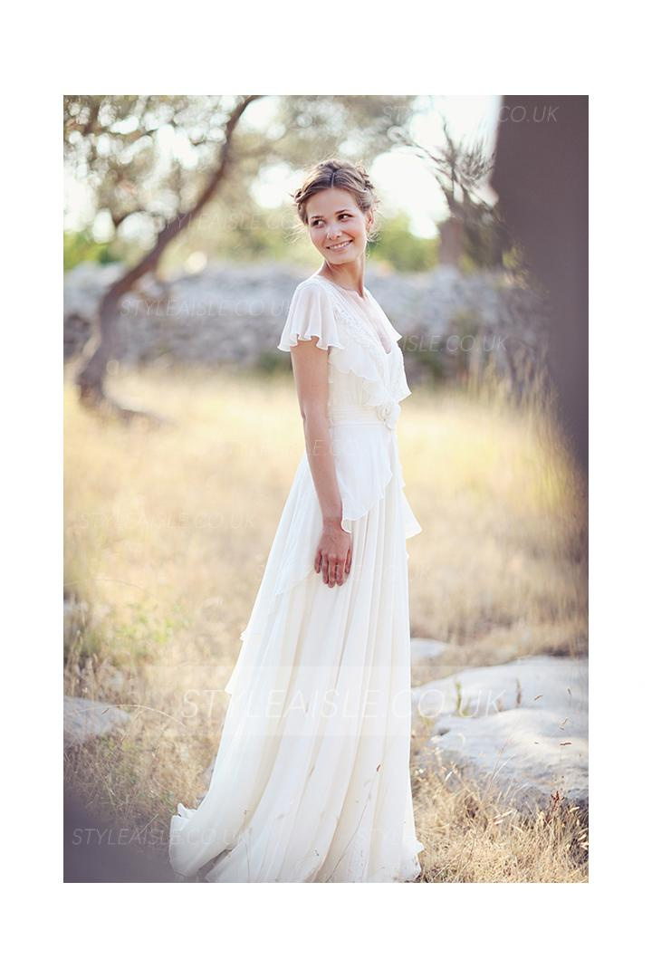 Beautiful V Neck Long A-line Chiffon Outdoor Wedding Dress with Flutter Sleeves and Lace Details