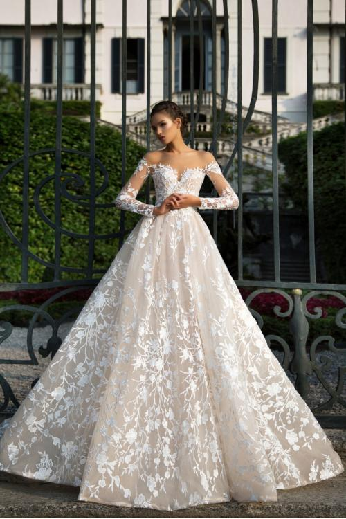 376d5e3132 Gorgeous Lace Embroidery Long Princess Blush Wedding Dress with Long Sleeves  ...
