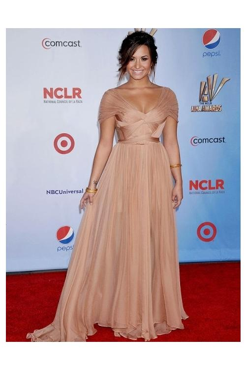 Demi lovato A-line Shoulder Straps Beach Style Cap Sleeve Long Chiffon Prom Dress