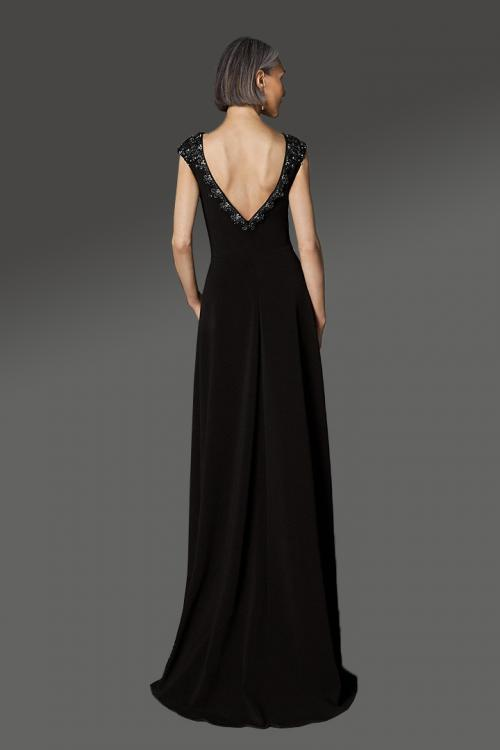 Designer Sheath/Column Bateau Neck Cap Sleeves Beading Sweep/Brush Train Long Cocktail Dresses with V-back