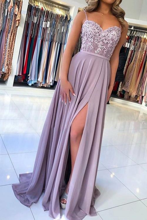 Spaghetti Straps Lace Appliques Beading Split Floor length Long Chiffon Prom Dress
