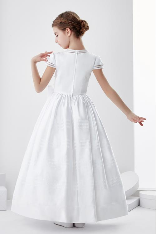 A-line Jewel Neck Short Sleeve Bow(s) Pearl Detailing Floor-length Satin Long Communion Dresses