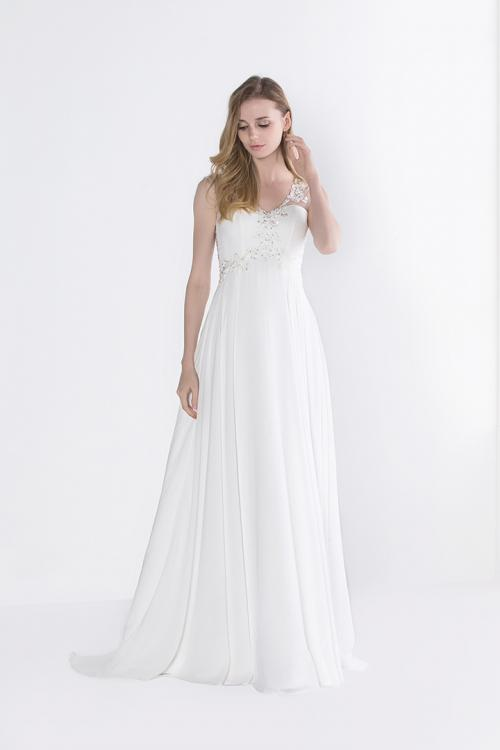 A-line V-neck Sleeveless Beading Long Chiffon Prom Dress
