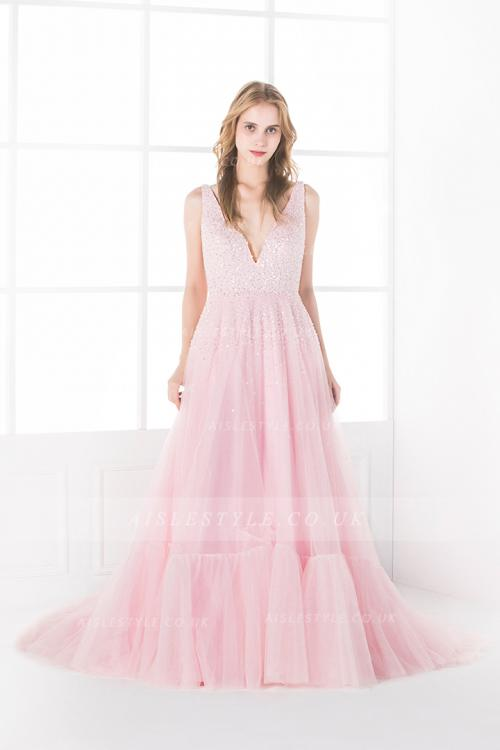 Sparkly Beading V Neck Sleeveless A-line Pink Tulle Prom Dress