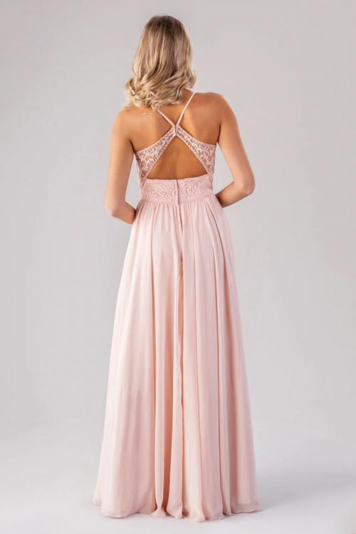 A-line Spaghetti Straps Sleeveless Beading Lace Pockets Floor-length Long Chiffon Bridesmaid Dresses