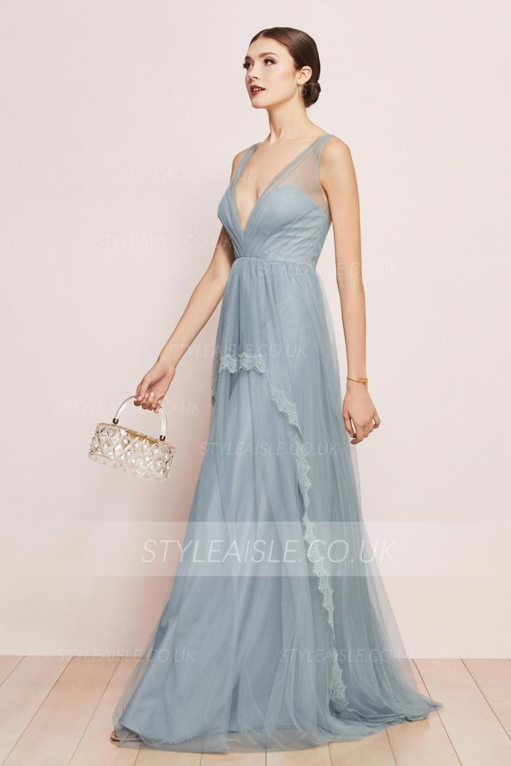 A-line V-neck Sleeveless Lace Floor-length Dusty Blue Long Tulle Prom Dresses