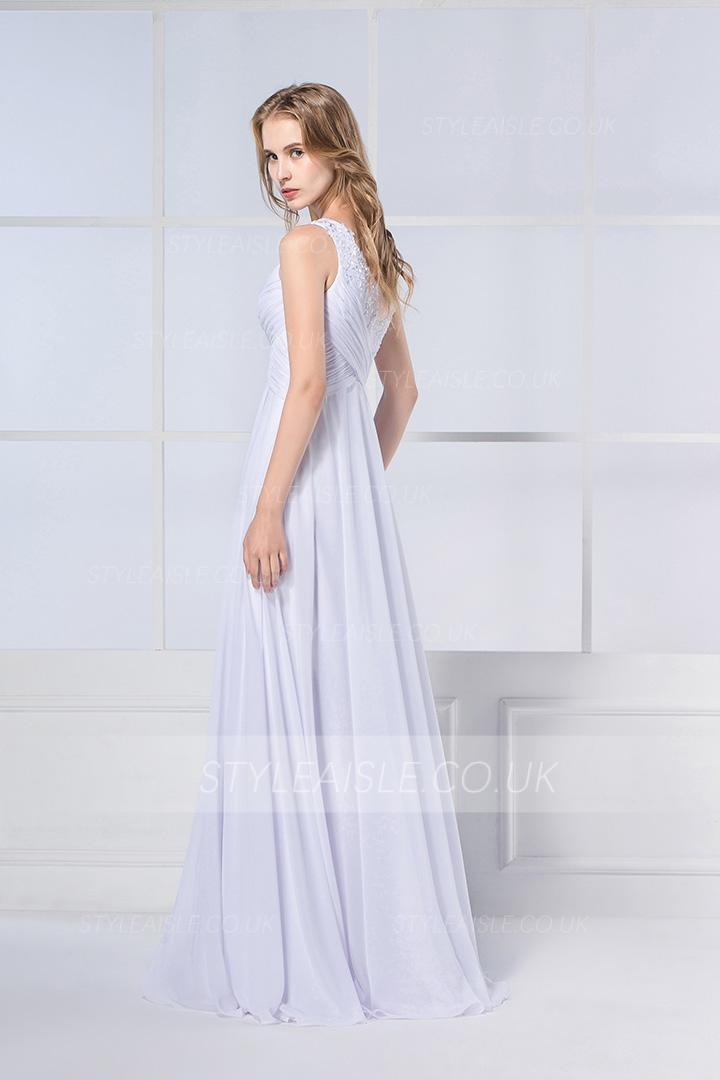 A-line One Shoulder Beading Sweep/Brush Train Chiffon Wedding Dresses