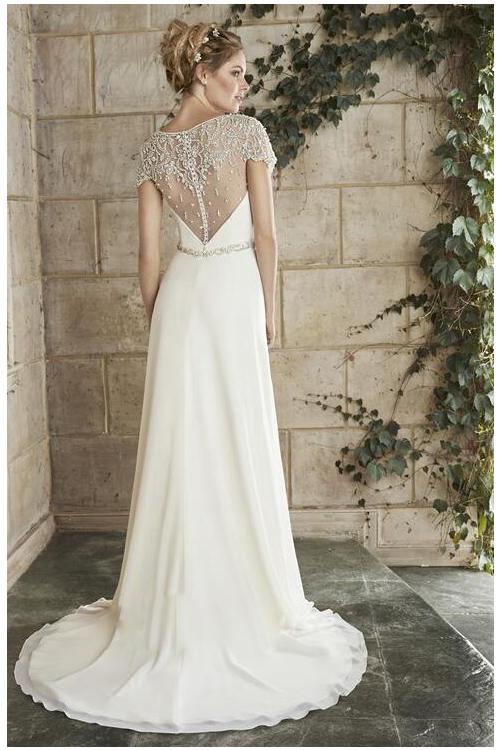 Hot Sale Bateau Neck Lace Top A-line Chiffon Crystal Waist Wedding Dress with Short Sleeves
