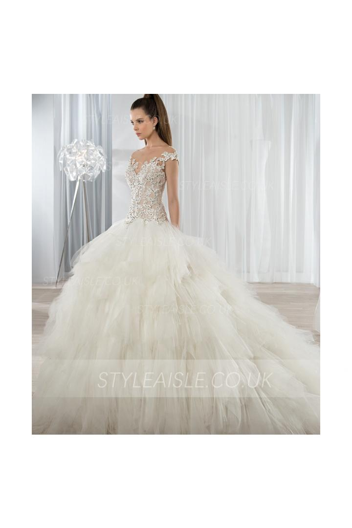 Illusion Bateau Neck Lace Bodice Ball Gown Ruffled Ivory Tulle Blush Top Wedding Dress