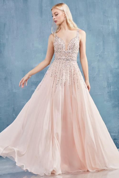 Elegant A-line Sleeveless Beading Floor-length Long Chiffon Prom Dress