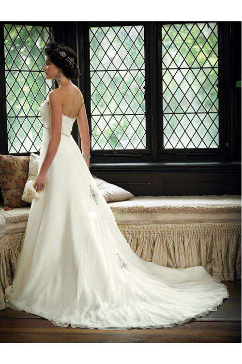 Timeless Empire A-line Crystal Beaded Neck Chiffon Wedding Dress