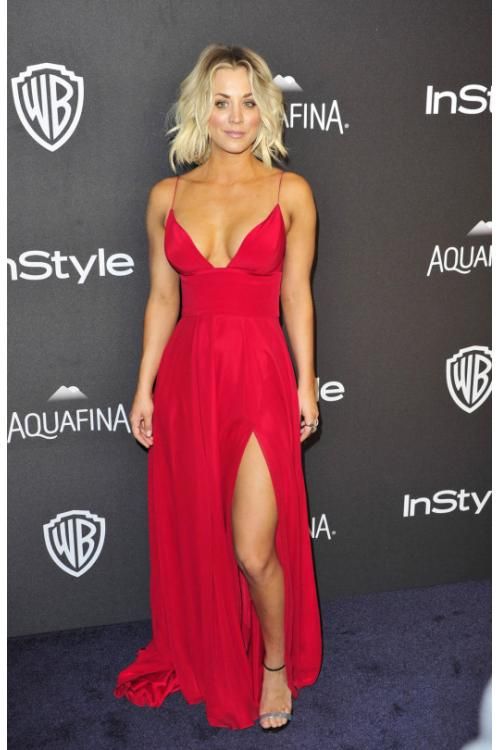 Sexy Warner Bros Golden Awards Split Long Red Chiffon Prom Dress
