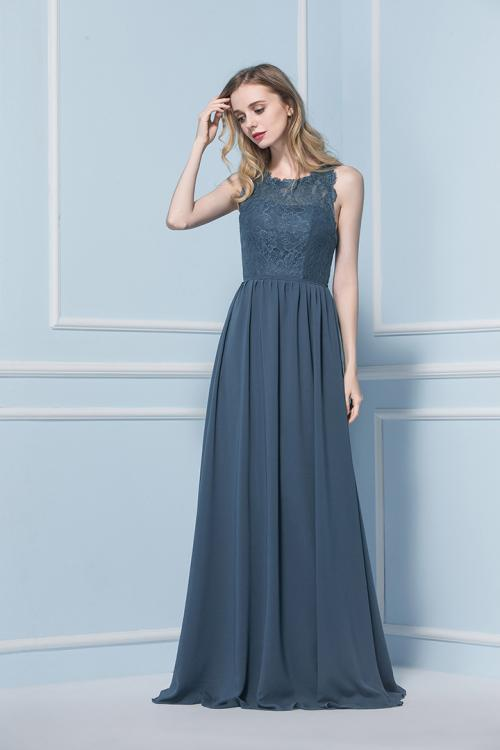Illusion Neck Lace Bodice A-line Long Chiffon Bridesmaid Dress