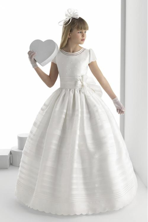 Timeless Pearl Beaded Top Ball Gown Long White Organza Girls Holy Communion Dress Short Sleeves