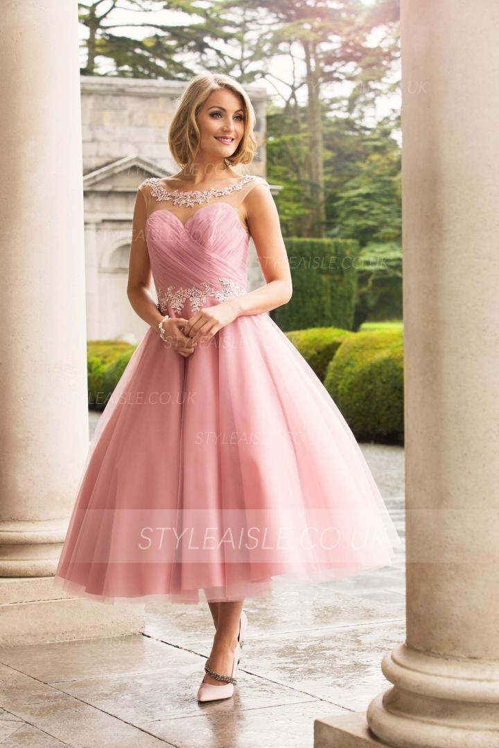 Tea Length A-line Pink Tulle Bridesmaid Dress with Lace