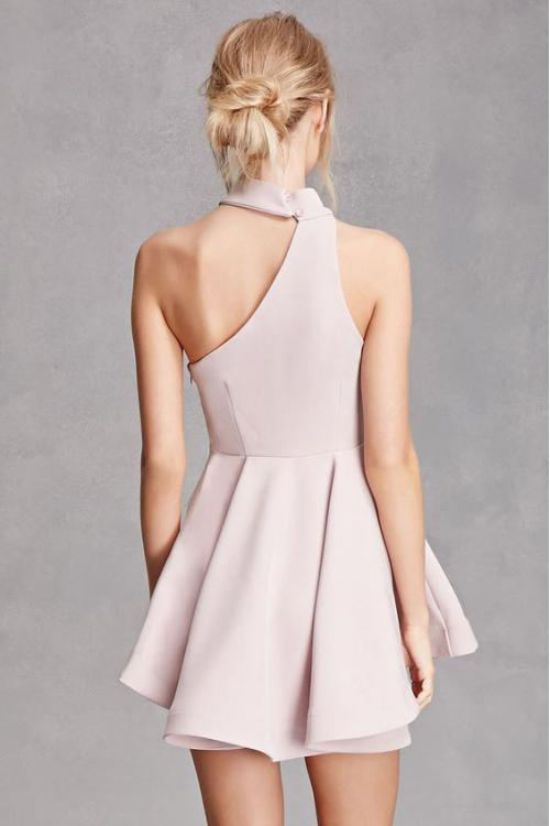 Chic Sleeveless Halter Neck Short Blush Prom Dress