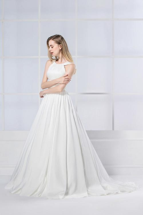 Simple Vintage Shoulder Straps Pleated Long Taffeta Wedding Dress