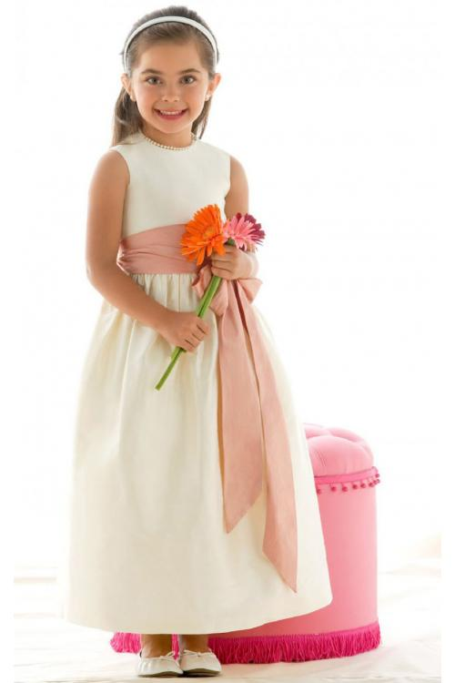 Jewel Ankle-length Sleeveless Zipper Satin Flower Girl Dresses