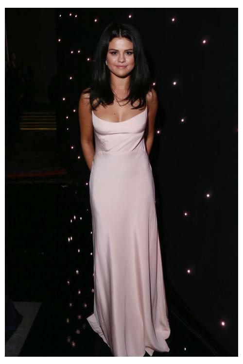 Selena Gomez Sheath Spaghetti Straps Long Satin Chiffon Prom Dress