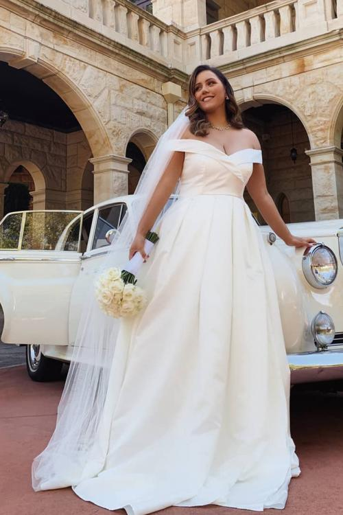Egegant Simple A-line Off-the-shoulder Floor-length Long Satin Wedding Dresses
