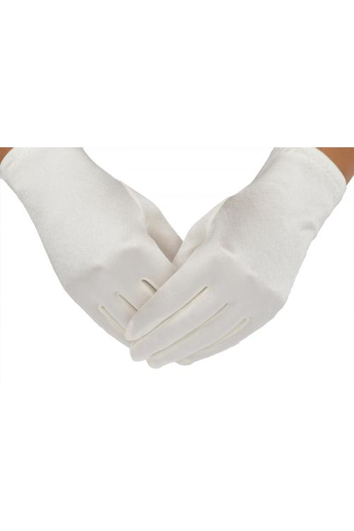 Short Ivory Stretch Satin Dresss Up Gloves For Girls 2BL