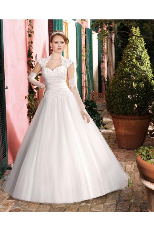 Generous A-line Straps Beading Buttons Lace Floor-length Tulle Wedding Dresses