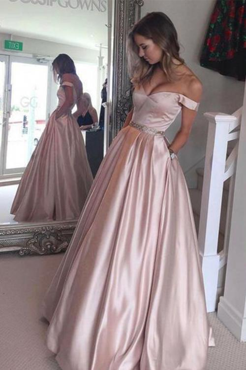 Off The Shoulder Floor-length Long Satin Evening Dresses with Pockets