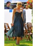 Tea Length A-line Teal Chiffon Strapless Short Prom Dress with Sequins