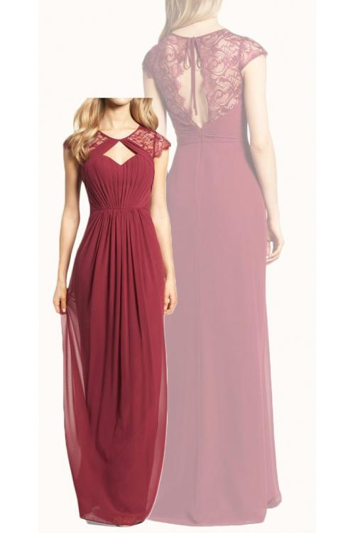 Boho Vintage Backless Long Burgundy Chiffon Bridesmaid Dress