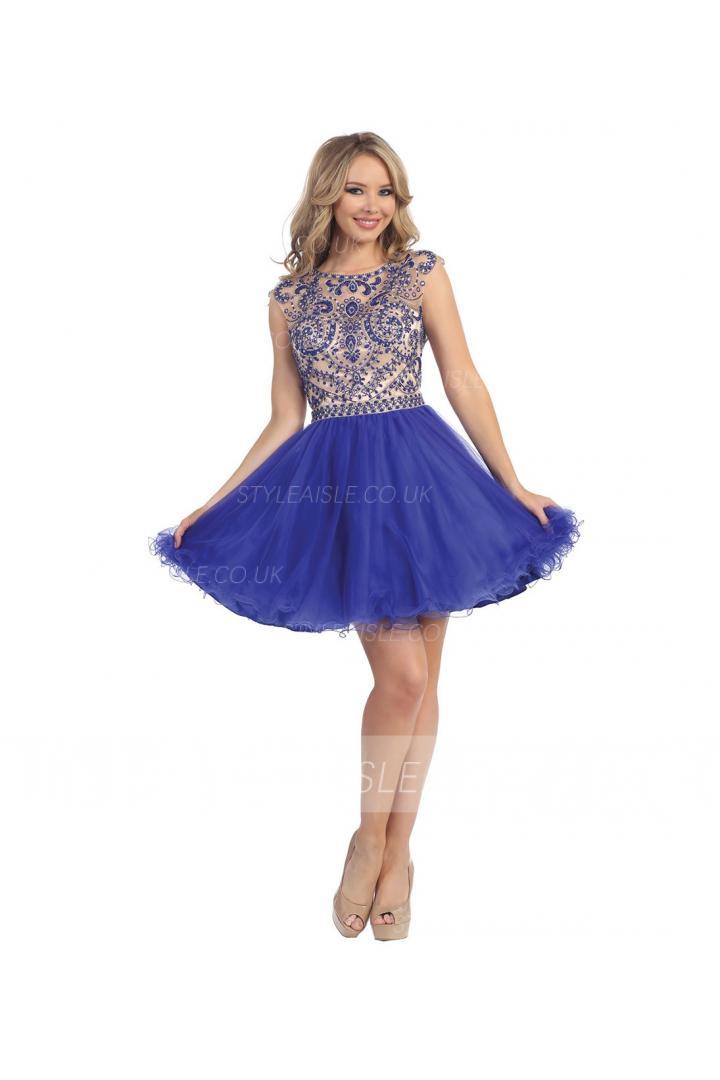 Sleeveless Bateau Neck Beaded Bodice Short Chiffon Prom Dress