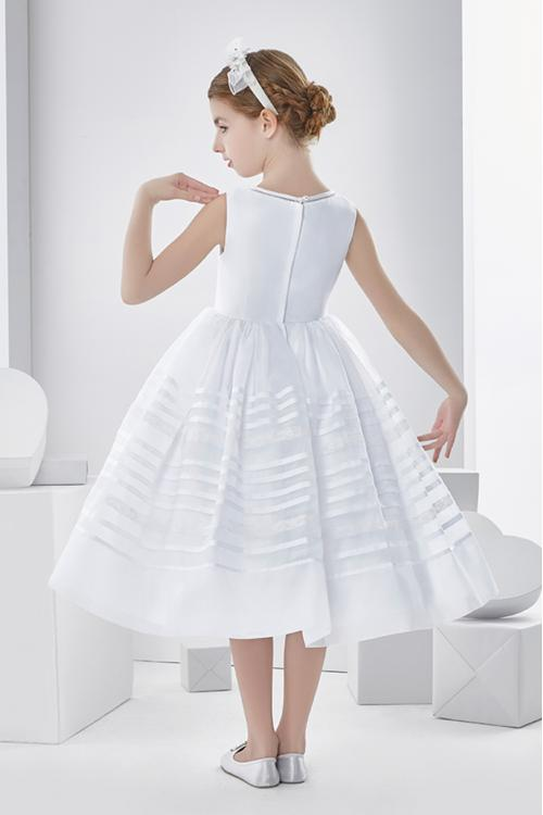 Sleeveless Ball Gown Organza Tea Length First Communion Dress with Bow