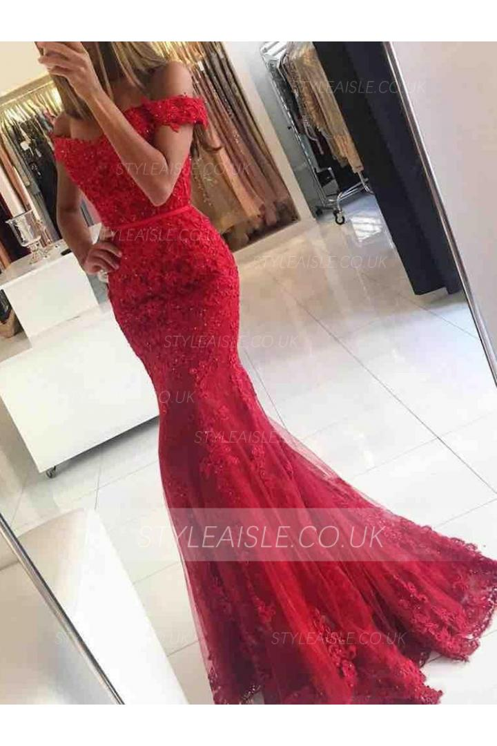Off the Shoulder Long Sequin Beading Lace Red Evening Dress