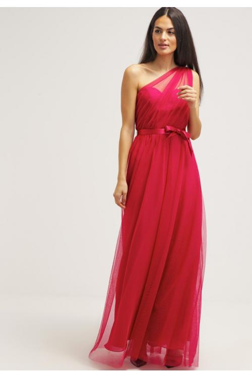 Simple Sleeveless One Shoulder Long Pleatded Tulle Bridesmaid Dress with Sash