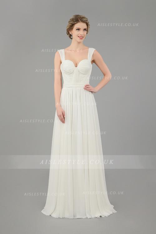 SHoulder Straps Informal Casual Long A-line Ivory Chiffon Wedding Dress