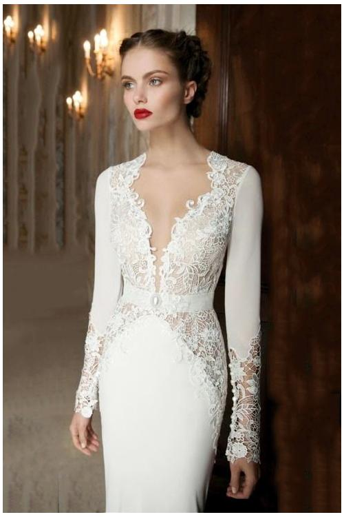 Vintage Lace Long Sleeves Trumpet Long Jersey Wedding Dress with Keyhole Back