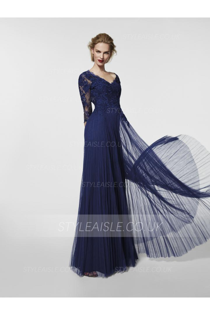 Long Sleeves V Neck Tight Lace overlay Tulle Prom Dress